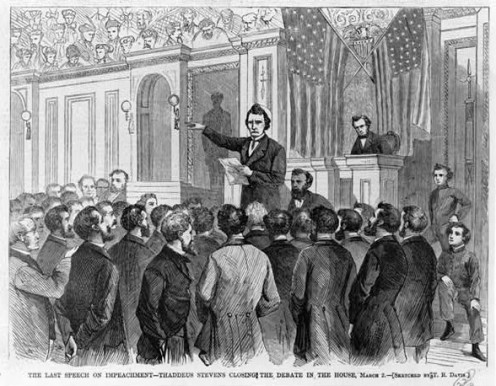 "Thaddeus Stevens closing the debate on impeachment in the House, 1868 CREDIT: Davis, Theodore R., artist. ""The Last Speech on Impeachment--Thaddeus Stevens Closing the Debate in the House, March 2."" Harper's Weekly, March 21, 1868."