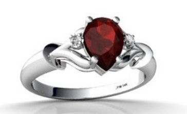 14K White Gold Genuine Pear Garnet Ring - By Jewels For Me From Amazon