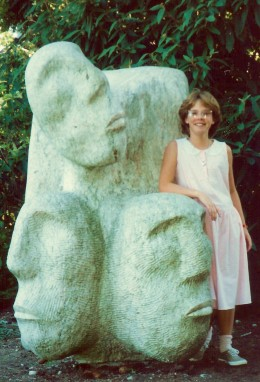 My niece with one of the many sculptures at Van Dusen Botanical Gardens