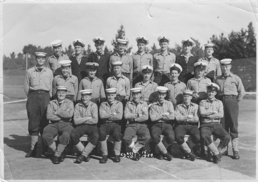 Recruit Class 15, having completed three months 'boot camp' have photo taken before disbanding to their specialist classes.  Jul 1954 (writer, 3rd from left, front row)