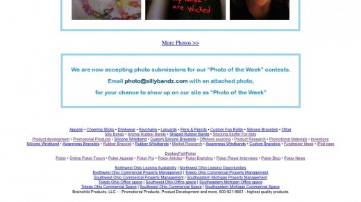 The footer area of the photo week page where children submit their own images to, showing off their Silly Bandz. Poker links in footer area. Click to enlarge.