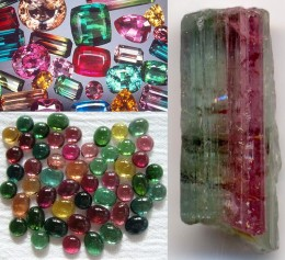 Different colors of tourmaline