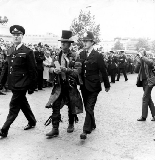 A hippy being arrested in London