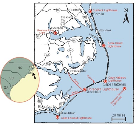 Outer Banks Map of Areas in North Carolina