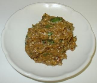 Brinjal Chutney Recipe - Ingredients and Method of Preparation of EggPlant Pachadi