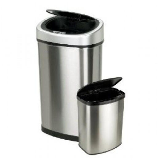 Nine Stars CB-DZT-50-9&8-1C 2-in-1 Infrared Touchless Automatic Motion Sensor Lid Open Trash Cans, Combo, Stainless Steel, 13.2/2.1-Gallon