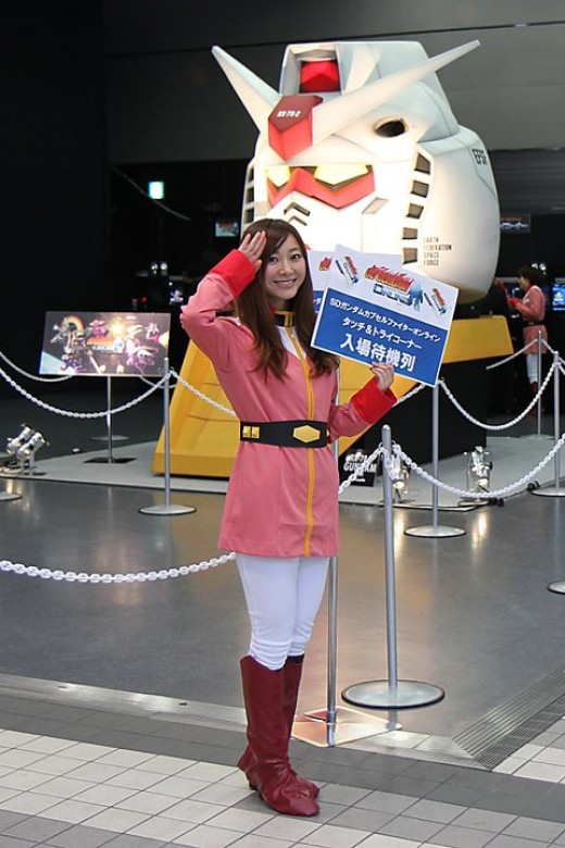 Another very cute girl - this time helping out at a new Gundam computer game launch event