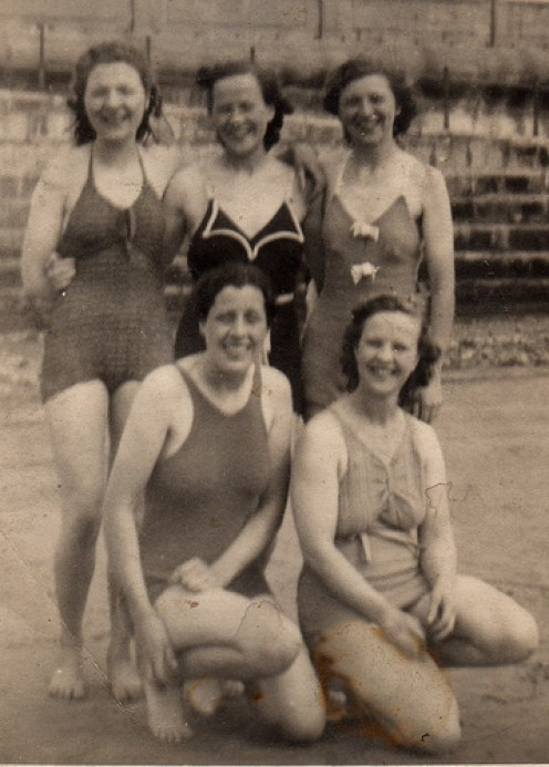 Bottom right: Sarah Ashbrook.  Top middle: Agnes Ashbrook.  (The others are unknown.)  Photo courtesy of Carol Sanderson.
