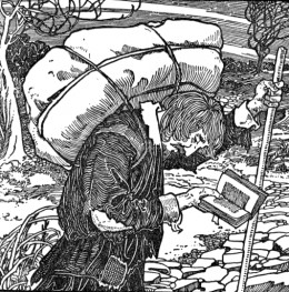 Christian with his burden upon his back reading from his Book while on his journey for life, eternal life.