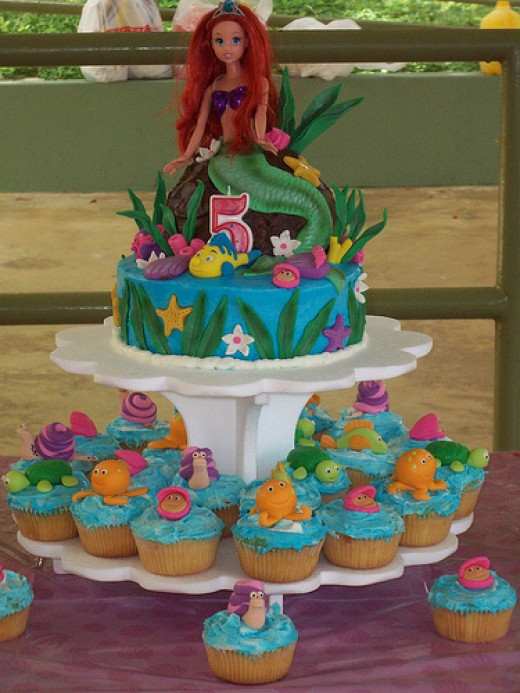 Pin pre cut disney princess ariel 213 round icing cake for Ariel cake decoration