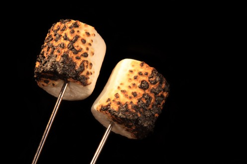 Marshmallows on metal skewer