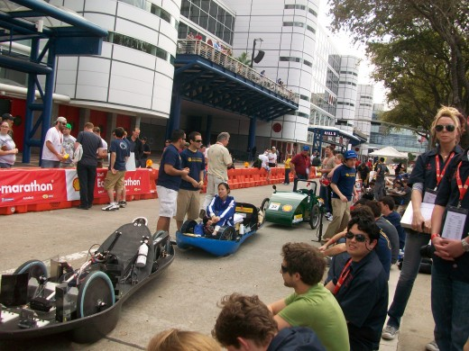 A line of prototypes waiting to compete.