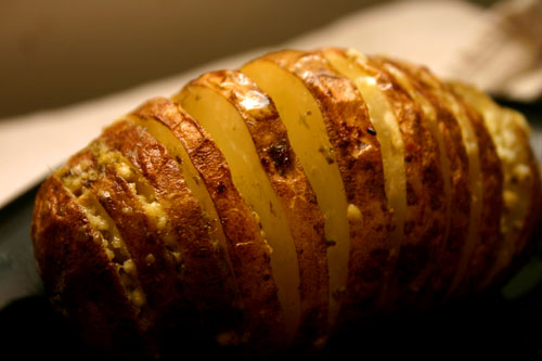 roasted potato armadillos with feta and pesto
