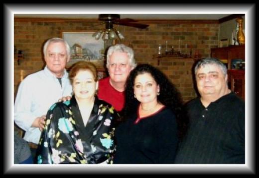 LISA MEETS NEW FAMILY. L TO R THOMAS DEBBIE MICHAEL, LISA AND ME