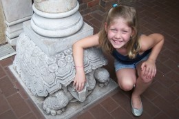 Dusty showing off some of the architectual detail at the Smithsonian National Zoological Center.