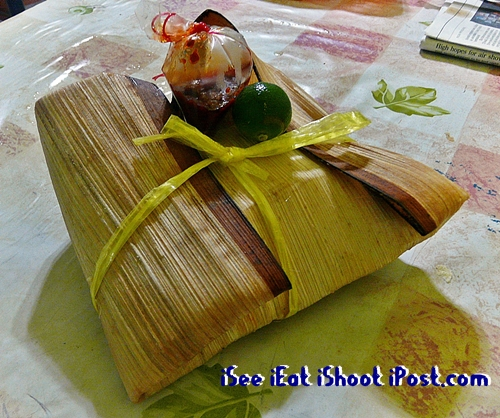 Takeaway food wrapped up in Opeh leaf.