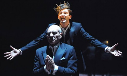 "Prince Hamlet (David Tennant) behind praying King Claudius (Patrick Stewart) scene from the BBC movie ""Hamlet""."