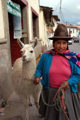 Woman with Llama in Cusco
