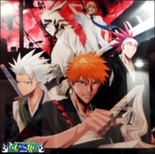 Ichigo with Capt.Toushiro, Vice-Capt.Abarai, Arrancar No.4 and Vizard Shinji