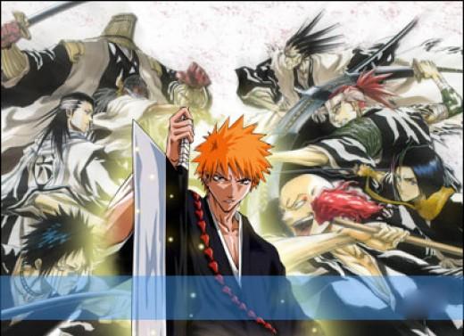 Ichigo with the Shinigami (from the top left: Capt.Kumamura, Capt.Tousen, Capt.Byakuya, Vice-Capt.Hisagi, Capt.Zaraki, Vice-Capt.Abarai, and Ikkaku