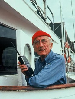 Jacques Cousteau aboard the Calypso. The famous father of my stripping benefactor.