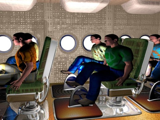 The illustration above shows passengers pedaling inside the aircraft.