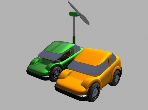 Two windmill-powered electric cars are shown in the illustration above.
