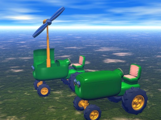 The illustration above shows two windmill-powered farm tractors. The tractor in the foreground has it's windmill retracted,the tractor in the background has it's windmill extended.