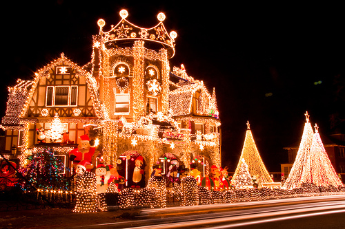 You might not want this many festive christmas lights, but just a few strings of bright christmas lights will really warm up your home for the festive season!