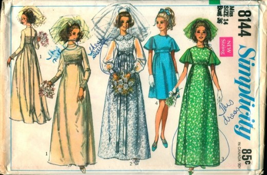 Note the bright colors of the bridesmaid dresses in this 1969 pattern - gotta love the matching colored veils!
