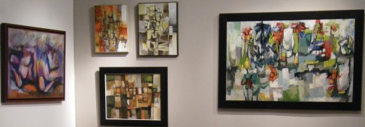 Robert Rogan paintings hanging in the William Reaves Art Gallery