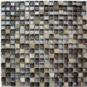 Glass Tile & Stone Mix - Stainless Look Mosaic Tile Backsplash