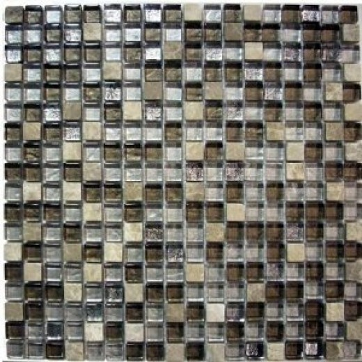 Glass Tile & Stone Mix - Stainless Look Mosaic Tile Backsplash
