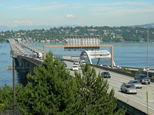 According to photographer Joe Mabel, this is the Homer Hadley Bridge on the left for westbound motor vehicles, pedestrians, and bicycles; and Lacey V. Murrow Bridge on the right for eastbound vehicles.