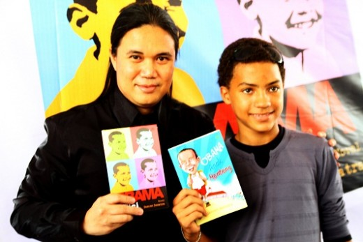 Damien Dematra (left), author of Obama childhood novel and movie. He with Hasan Fariq Ali (right), who acted as Obama.