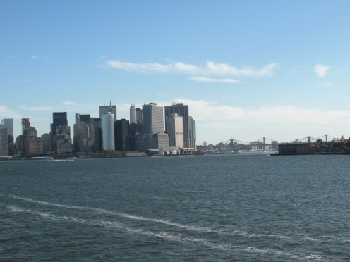 view of New York City from Staten Island Ferry