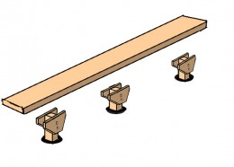 Position the ten foot long 2x12 or 2x10 plank over the posts. Make sure the overhang at each end is equal (about a foot).