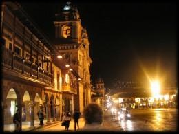 Cusco main square at night.