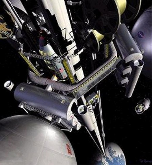 The concept of the space elevator has been on the minds of those who see this as a cheap and efficient way to get vast amounts of material into space to build the colonies for interplanetary or intersteller travel. Building such a stairway to the hea