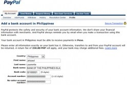 Paypal Bank Codes for the Philippines