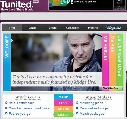 Midge Ure the founder of Tunited.com