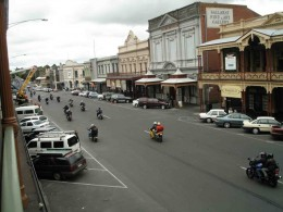 Bikers parade up the main drag
