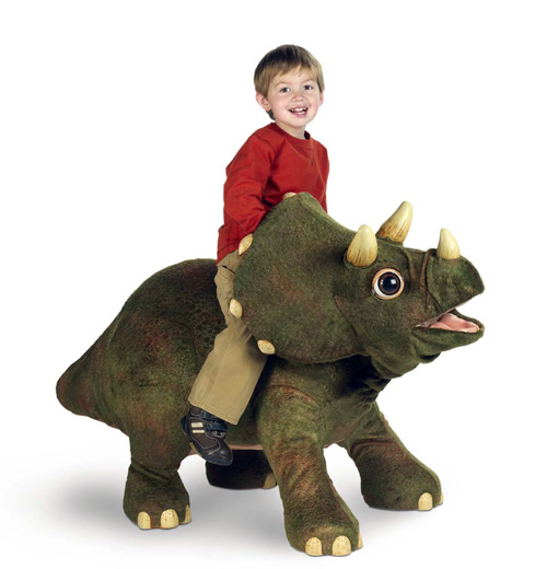 Triceratops have large heads and big round bodies which people find cute -- cute enough to make into toys. This one is called Kota.