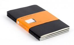 The Cahier Notebook is a smaller version if the regular Moleskine. It has fewer pages, but still boasts a pocket, and the last 16 pages are perforated for easy removal.