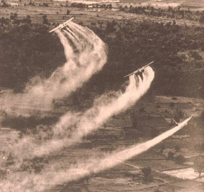 Agent Orange, a defoliant chemical,  was dispersed over wide regions of Vietnam in the early 1970s These chemtrails are now a fact of history.