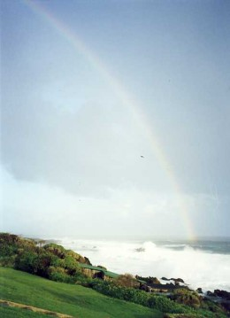 """A rainbow for the """"Rainbow Nation"""". Scene at Storms River Mouth on the Garden Route. Photo by Tony McGregor"""