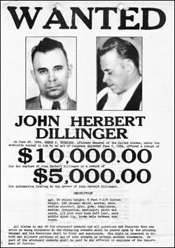 John Dillinger Wanted Poster