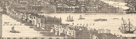 "Depiction of the ""old"" London Bridge, 1682, through which the procession traveled."