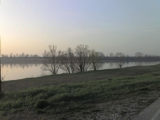 The Po River at Ferrara, Italy, site of the above water procession.