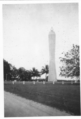 Coast watchers memorial tower, Madang 1964.  Coast watchers used to feed information on the enemy Japanese back to the Allies during WW2